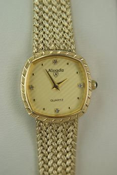 Nivada - Swiss Ladies' watch Full Gold plated, dial with 4 Diamonds.