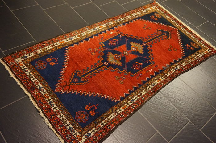 Old high quality handwoven Persian carpet, Malay, Made in Iran, plant dyes 110 x 210 cm