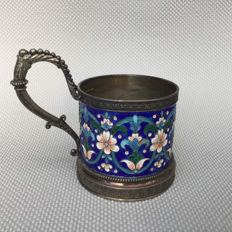 Antique Russian enamel on silver teaglass holder, 19th century