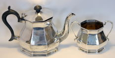 Mappin & Webb - Antique silver plate tea pot and sugar bowl, ca.1910