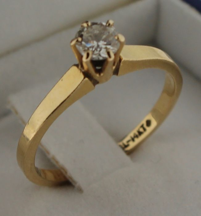 14 kt gold ring with diamond, 0.20 ct, Ring size: 17.5