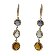 Elaine Firenze - 18 kt rose gold dangle earrings with colour stone - 5 cm
