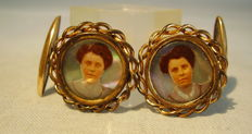 Rare Victorian cufflinks with women's portraits on mother-of-pearl, circa 1890