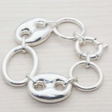 925 silver bracelet Italian design, very wide links – 31cm.