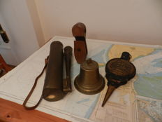 Decorative lot of Old sailing barge items, ships bell fire bellows and portable mist horn wood pulley snatch block