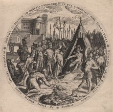 Abraham Bloemaert (1564 - 1651) - The Abstinence of Scipio - Engraved by Dolendo en published by Hendrick Hondius - Circa 1585