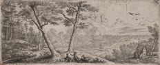 Lucas van Uden (1595 - 1672) - Landscape with two shepherds conversing - From a rare set of four wide landscapes - Published by Frans van den Wijngaerden - Circa 1640