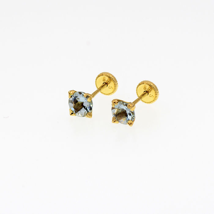 14k/575 yellow gold -   Studs earrings with aquamarines  - Front size: 5 mm. Ø