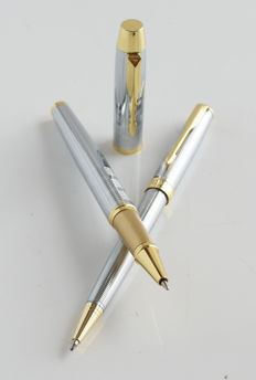 2 x luxury Sonnet ballpoint: gold plated with gold plated clip + chrome steel with gold-plated accents, with Parker gift box (018)