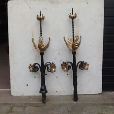 2 pinnacles in forged iron from a castle in France, France, 19th century or earlier