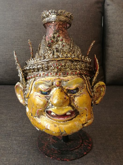 "Khon mask ""Phra Lersi"" hermit (real size to head) - Thailand - mid 20th century"