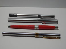 Lot of 2 pens (Omas and Aurora) and 2 ballpoint pens (Waterman and Pelikan)