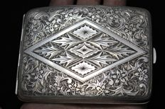 Beautiful Art Nouveau Solid .950 Silver Cigarette Case