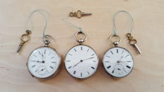 Lot of 3 Swiss pocket watches - around 1850-1900