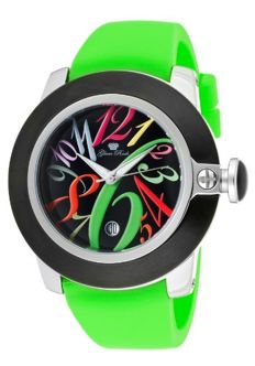 Glam Rock – Steel women's watch with a colourful dial and a green strap