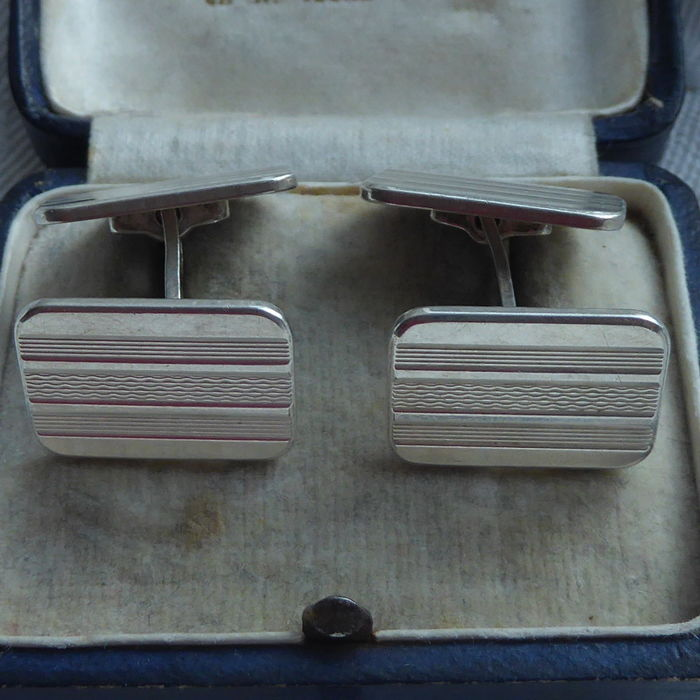 Antique Dutch silver double-sided cufflinks --- first half previous century