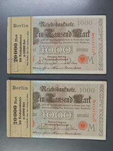 Germany - 40 x 1000 Marks from 1910 - in two consecutively numbered original bundles with sleeve