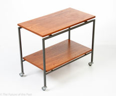 Unknown manufacturer, vintage teak wood trolley with two floating trays
