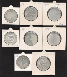 The Netherlands – 50 guilder coins 1982/1998, Beatrix (8 different ones) – silver