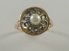 Gold and silver ring with pearl and diamonds – Late 1800s