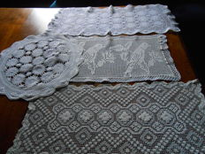 4 hand crafted table cloths