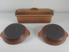 Le Creuset-1 cast iron/enamel terrines and 2 cast iron/enamel oven dishes/sauce bowls
