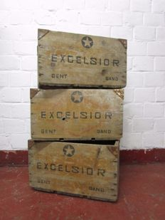 Three vintage beer crates 'Excelsior' Ghent, 1930s