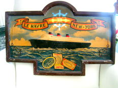 "Wooden Billboard - Atlantic Crossing Le Havre / New York with the liner ""le Normandie"""