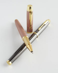 Parker: 2x luxury rollerbal: pink with gold-plated accents + anthrazit with gold-plated accents, with Parker giftbox (021).