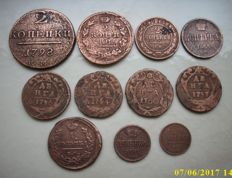Russia and Soviet Union - 26 miscellaneous coins 1757 - 1940