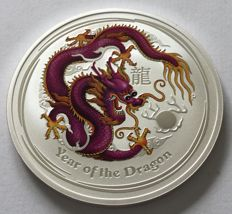 Australia - 1 Dollar 2012 'Year of the Dragon' coloured - 1oz silver