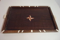 Beautiful colonial tray with inlay in Wenge wood