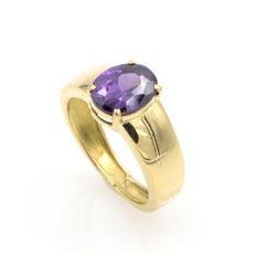 Yellow gold ring with amethyst - Size: 12 (SP)