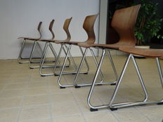 Elmar Flötotto – Lot of 6 vintage school chairs