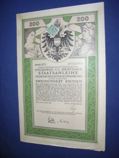 10 diff. Austrian/Hungarian (K.u.K) loans (war loans, city / state bonds, utility, housing) 1868 to 1925, decorative