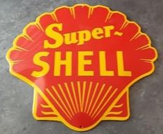 SUPER SHELL gasoline motor oil petrol enamel advertising sign