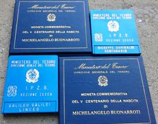 Italy – Lot of 4 coins – 500 Lira – 1975 and 1982 – Silver
