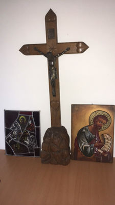 cross icon - painted wooden cross 65x40 stained glass scene 30 x 24
