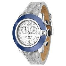 Glam Rock – Steel women's watch with silver leather strap and blue case cover