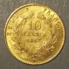 France – 10 Francs 1867-A Paris – Napoleon III – Gold