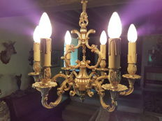 Large Brass Antique French 6 Arm Cage Style Chandelier