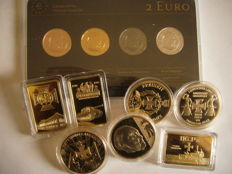 "Europe - Latvia (2 Euro 2013 plated ""Precious Metal Set"") + 7 plated medals Germany"
