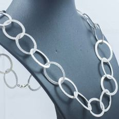 Necklace in 925/1000 silver with Italian greca design – Length: 60 cm