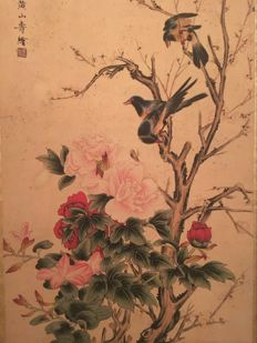 Flower and bird  scroll - China - late 20th century