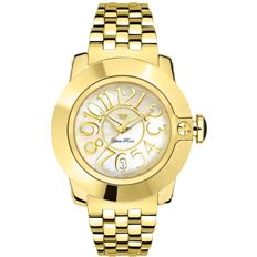 Glam Rock – Women's watch, yellow gold IP steel with mother of pearl Arabic dial