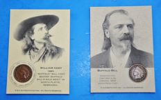 America - 2 x Buffalo Bill One Cent Holder - including Indian Head One Cent Coin - 1883 & 1899
