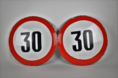 Two vintage French enamel speed limit signs (30) from the 1960's