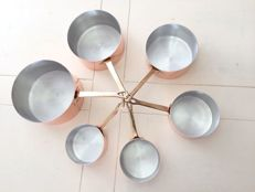 Five solid copper pans, professional quality, tinned inside