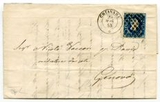 Sardinia 1853, 20 Cents with edge of sheet, used on letter from Chiavari to Genoa