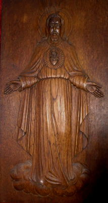 Otto Ferdinand ter Reegen (1871-1959), large oak Neo Gothic Sacred Heart panel depicting Christ, signed approx. 1900.